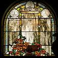 mausoleum window, Mountainview cemetery