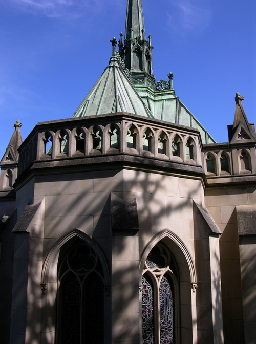 an Above Ground Vault, which was built to look like a miniture gothic cathedral.