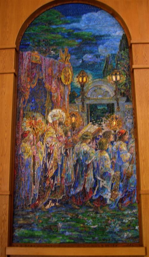 tiffany mosaic, detail, left panel