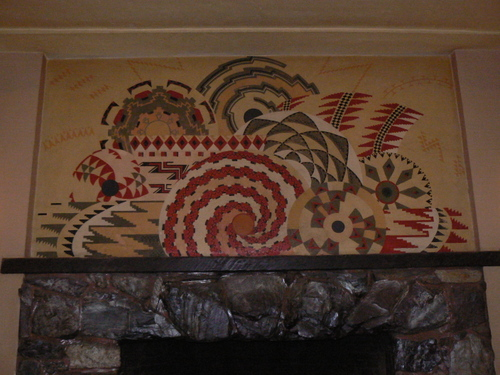 Mural over fireplace