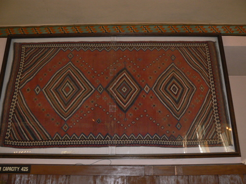 Turkish rug, framed as a wall hanging