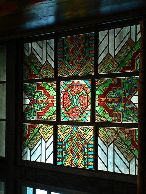 stained Glass in the main lodge hall